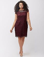 LANE BRYANT PLUS SIZE CAP SLEEVE LACE SHEATH DRESS BY ADRIANNA PAPELL 20W