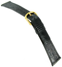19mm Milano Genuine Crocodile Black Stitched Flat Watch Band Mens