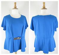 Eloquii Plus Size Solid Blue Peplum Blouse Top Shirt Size 22 Short Sleeve