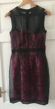 D&G Dolce & Gabbana Black voille and pink lace cocktail dress, size 42, uk 10
