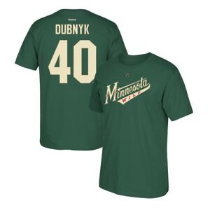 Devan Dubnyk Reebok Minnesota Wild Player Premier N&N Green Jersey T-Shirt Men's