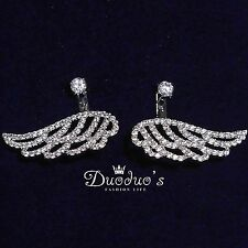 18K White Gold Plated Wings Zircon Stud Earrings Front & Back Earrings
