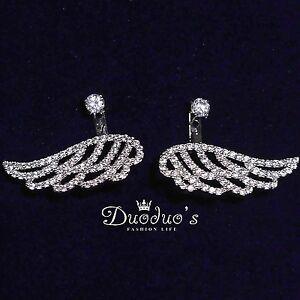 18K White Gold Plated Wings Zircon Stud Earrings Front & Back Earrings