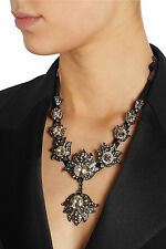 Lanvin Black Blanche Dress Pewter Swarovski Crystal Necklace/Choker
