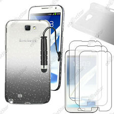 Housse Etui Coque Gouttes Noir Samsung Galaxy Note 2 + Mini Stylet + 3 Films