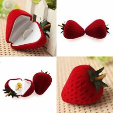 Pendant Stud Earring Gift Case Strawberry Flocking Jewelry Ring Box