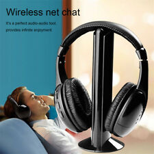 5 In 1 Wireless Cordless RF Headphones Stereo Headset with Mic for PC TV Radio--