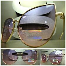 EXAGGERATED VINTAGE RETRO CAT EYE Style SUNGLASSES Gold Frame Purple & Pink Lens