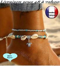 Chaine de cheville Boho Bohème turquoise 2 bracelets Tortue  pied Taille    X010