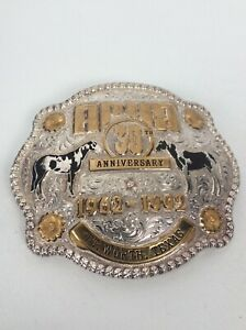 Cool Vtg Western Gist APHA 30th Anniversary Texas Bronze Silverplate Belt Buckle