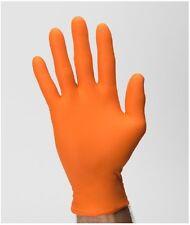 Hi-Vis Orange Nitrile Gloves POWDER FREE Large Case Textured Grip, Tattoo, Auto