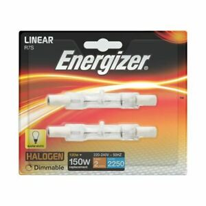 4 x Energizer LINEAR 78mm R7s 2250 Lumens Halogen Bulbs 240V ( 150 W ) Dimmable