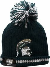Michigan State Spartans Cuffed Pom Knit Hat Sequin Frost Logo Block 12326 f8281bd72