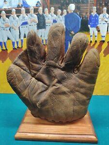 Antique Vintage Spalding Split Finger Baseball Glove Sewn in Web Patent 1908