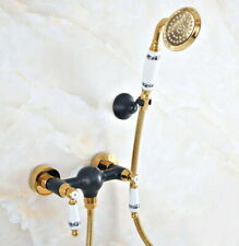 Black & Gold Wall Mounted Bathroom Faucet Shower Mixer Tap Hand Shower Spray