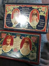 Lot 2 Rare Old Rustic Hinged Tin King George VII Queen Mary Long MayThey Reign