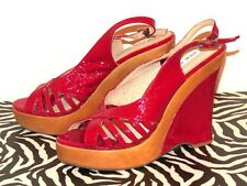 New $148 Steve Madden 'Sinfull' Red Patent Leather Platform Wedge Sandals 8.5 M