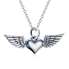 Guardian Angel Wings Solid Sterling Silver Love Heart Pendant Necklace Jewelry