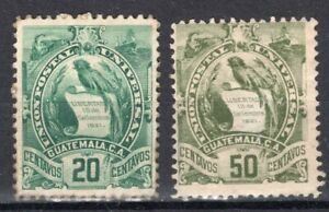 GUATEMALA 1886 STAMP Sc. # 35 AND 37 MH BIRDS