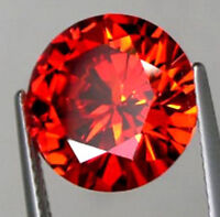 Padparadscha Sapphire 15mm 21.25Ct Round Faceted Cut Shape AAAAA VVS Loose Gems