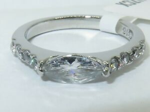 Ladies ring marquise band pave cz elegant sparkling stainless steel new 3607