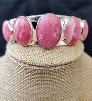 Jay King 5 Stone Pink Rhodochrosite Cuff Sterling Silver Bracelet $300 Retail