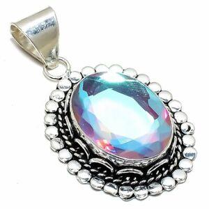 "Rainbow Mystic Topaz Gemstone Handmade Silver Jewelry Pendant 2.1"" PSL33"