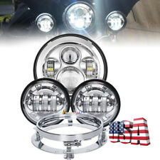 "Chrome 7"" Led Headlight 4.5"" Passing Light Mounting Ring Adapter Kit For Harley"