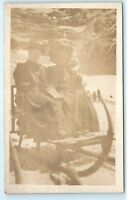*Switzerland Swiss Women in Sightseeing Sled Vintage Photo Postcard C43