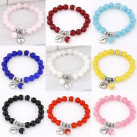 New Fashion Womens Rhinestone Glass Beads Charm Bracelet Love Heart Bangle Hot Y