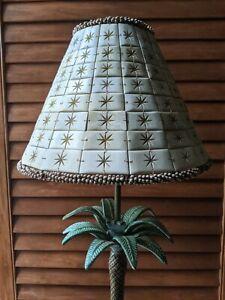 Unique Handmade w/ 136 Carved Horn Bovine Bone Tiles Lamp Shade Wood Beaded Trim