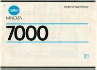 MINOLTA - 7000 - Bedienungsanleitung für Kamera - H12513