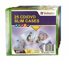 ($0 p&h) Verbatim CD/DVD Colour Slim Jewel Cases (1 x Pack of 25) P/N 41854