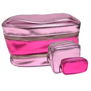 Victoria's Secret Bag 3 Piece Cosmetic Train Case Set Make Up Pink Travel Beauty