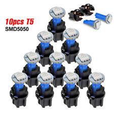 10PCS T5 5050 SMD LED Light + Socket Blue Car Instrument Panel Cluster Plug Bulb