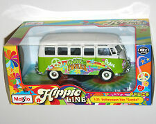 Maisto - VW VOLKSWAGEN VAN '' SAMBA '' Hippie 'Flower Power' Green - Scale 1:25