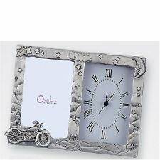 Pewter Motorcycle Photo Frame with Clock