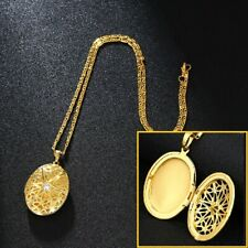 ff0620ccc 18k Yellow Gold Womens Link Chain Necklace With Photo Locket + Gift Pkg  D667B