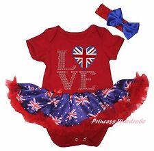 Queen Day Union Jack LOVE Heart Red Bodysuit Blue UK Flag Girl Baby Dress NB-18M