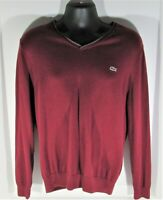 Lacoste size XL Maroon Cotton V-Neck Long Sleeve Sweater