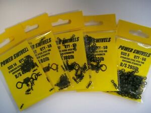 POWER SWIVELS - PACK OF x 50 various sizes * 5's - 14's ------ 45lb to 295lb
