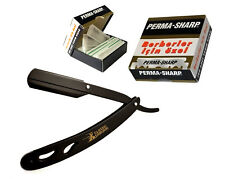 Classic Samurai Metal Straight Razor Shavette + 100 Perma Sharp Blades