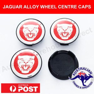 4 x JAG Alloy Wheel Centre Caps 59mm Red CHROME For Jaguar XJ XJR XF S X TYPE