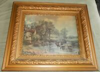 Fairly Large Antique Vintage John Constable Print THE HAYWAIN, Ornate Gold Frame