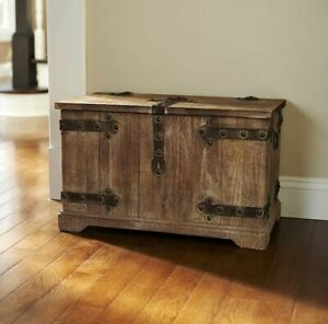 Storage Trunk Farmhouse Rustic Wood Chest Distressed Weathered Vintage Bench New
