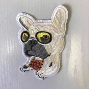 Pug Dog Glasses Puppy Embroidered Iron or Sew on Applique, Badge, Patch