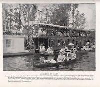 1897 Vittoriano Stampa ~ Henley Su Tamigi ~ Casa Barche Gaily Dressed Persone