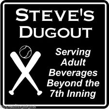 Personalized Name Baseball Dugout Bar Gift Sign #1 Custom Usa Made