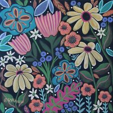 Saturday Floral 12 x 12 ORIGINAL PAINTING Folk ART Flowers PRIM Karla Gerard