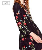 AU seller- Black hippie vintage floral embroidered long sleeve loose dress